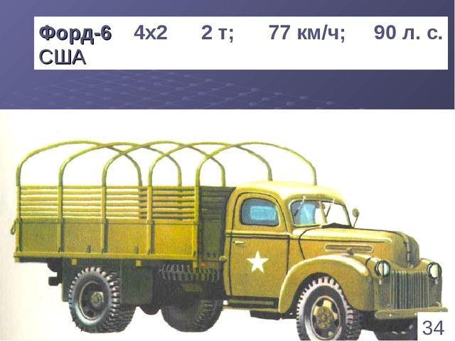 * Форд-6 4х2 2 т; 77 км/ч; 90 л. с. США 34 1