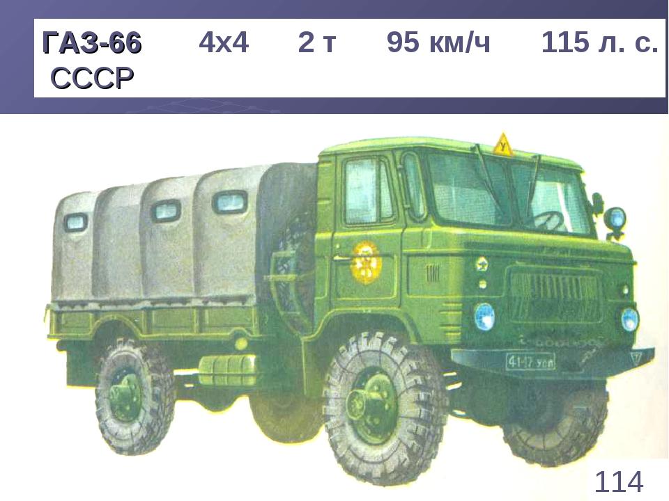 * ГАЗ-66 4х4 2 т 95 км/ч 115 л. с. СССР 114 1