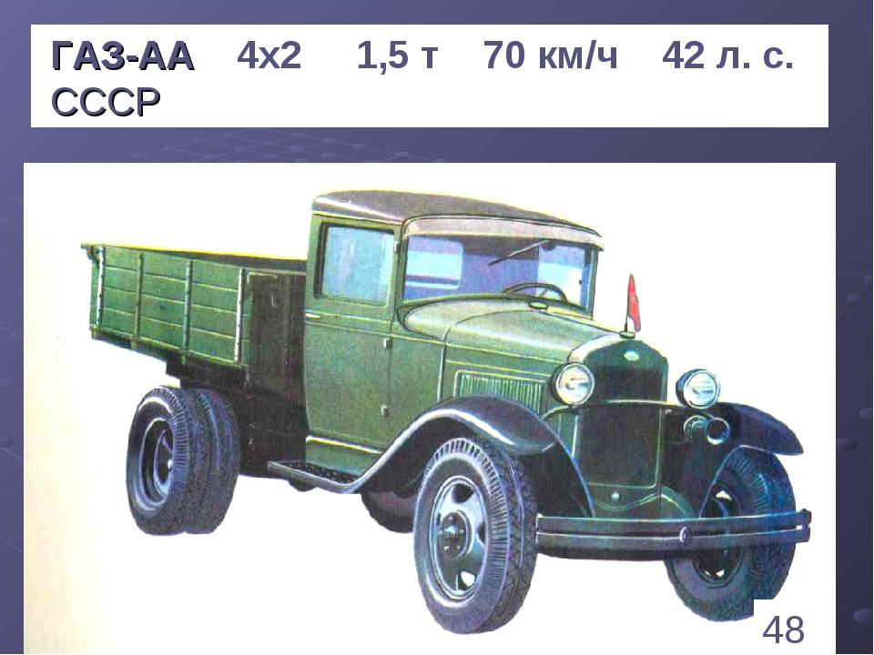 * ГАЗ-АА 4х2 1,5 т 70 км/ч 42 л. с. СССР 48 1