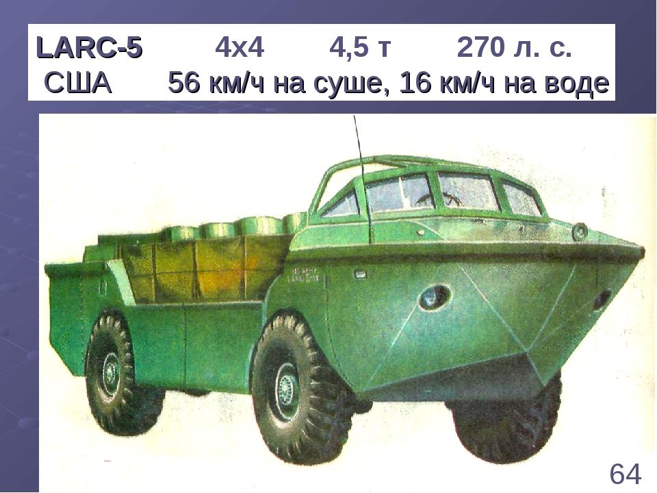 * LARC-5 4х4 4,5 т 270 л. с. США 56 км/ч на суше, 16 км/ч на воде 64 1