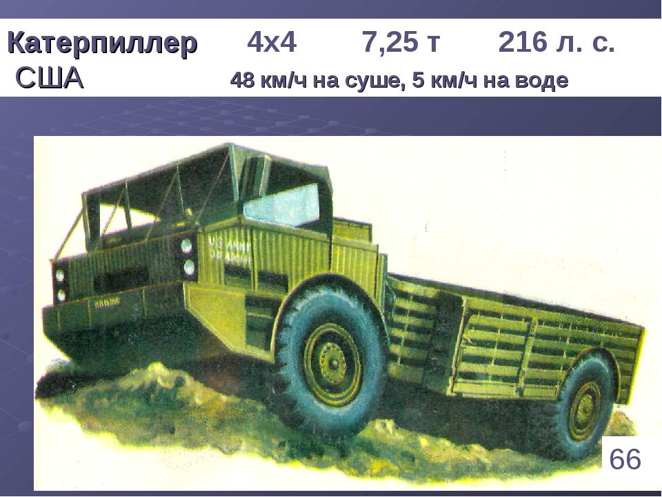 * Катерпиллер 4х4 7,25 т 216 л. с. США 48 км/ч на суше, 5 км/ч на воде 66 1