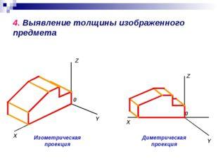 4. Выявление толщины изображенного предмета Изометрическая проекция X Y Z 0 Д
