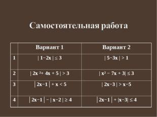 Вариант 1Вариант 2 1| 1−2x | ≤ 3 | 5−3x | > 1 2| 2x ²+ 4x + 5 | > 3| x²