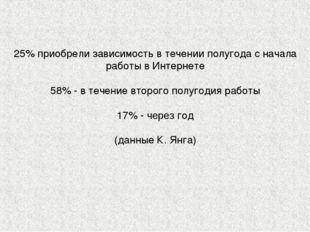 25% приобрели зависимость в течении полугода с начала работы в Интернете 58%