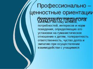 Личностное образование, которое включает систему мотивов, потребностей, интер
