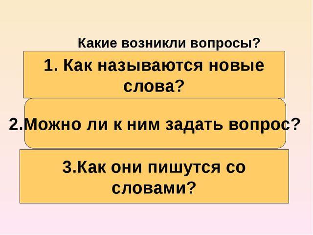 1. Как называются новые слова? Какие возникли вопросы? 2.Можно ли к ним задат...