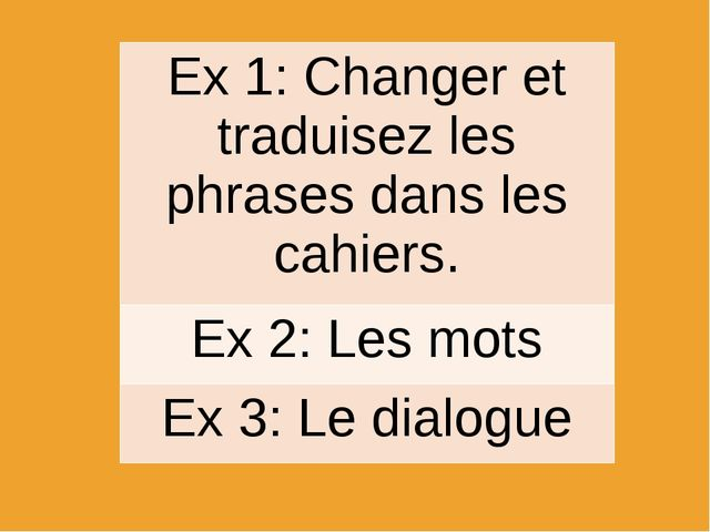Ex 1: Changeret traduisez les phrases dans les cahiers. Ex 2:Les mots Ex 3:Le...