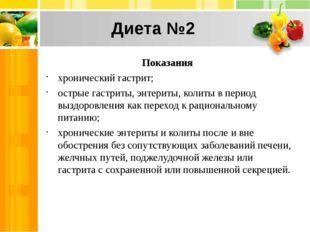 Диета №2 Показания хронический гастрит; острые гастриты, энтериты, колиты в п