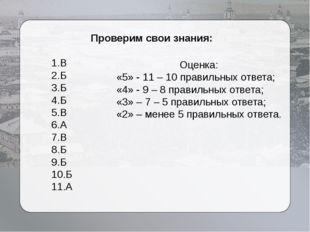 Проверим свои знания: 1.В 2.Б 3.Б 4.Б 5.В 6.А 7.В 8.Б 9.Б 10.Б 11.А Оценка:
