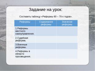 Задание на урок: Составить таблицу «Реформы 60 – 70-х годов». Реформы Содержа