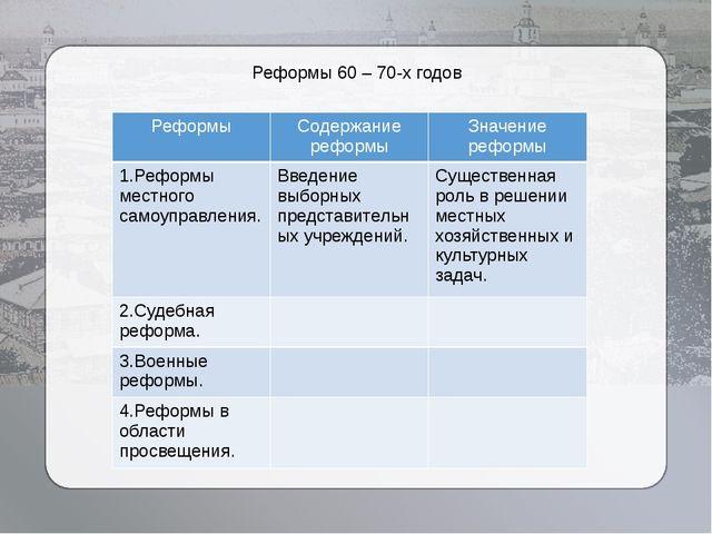 Реформы 60 – 70-х годов Реформы Содержание реформы Значение реформы 1.Реформы...