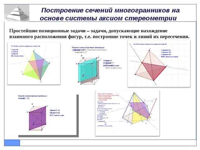 Построение сечений многогранников на основе системы аксиом стереометрии Прос...