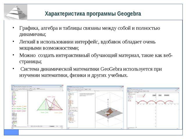 Графика, алгебра и таблицы связаны между собой и полностью динамичны; Легкий...