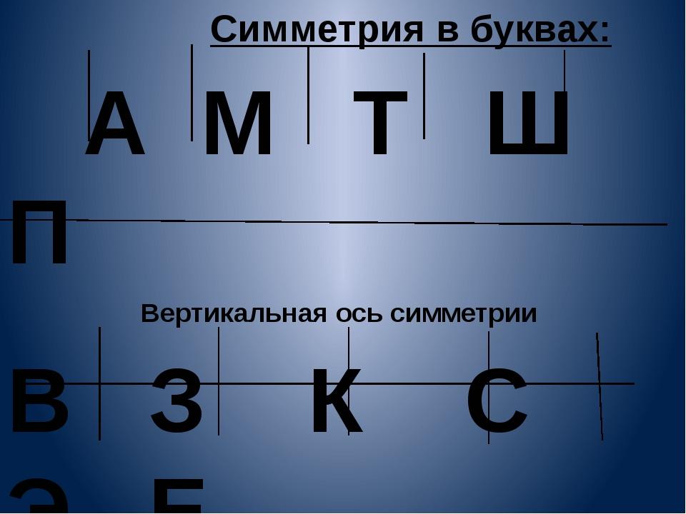 Симметрия в буквах: А М Т Ш П Вертикальная ось симметрии В З К С Э Е Горизон...