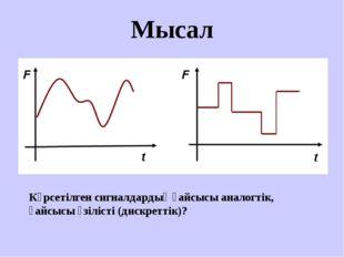 Мысал Көрсетілген сигналдардың қайсысы аналогтік, қайсысы үзілісті (дискретті