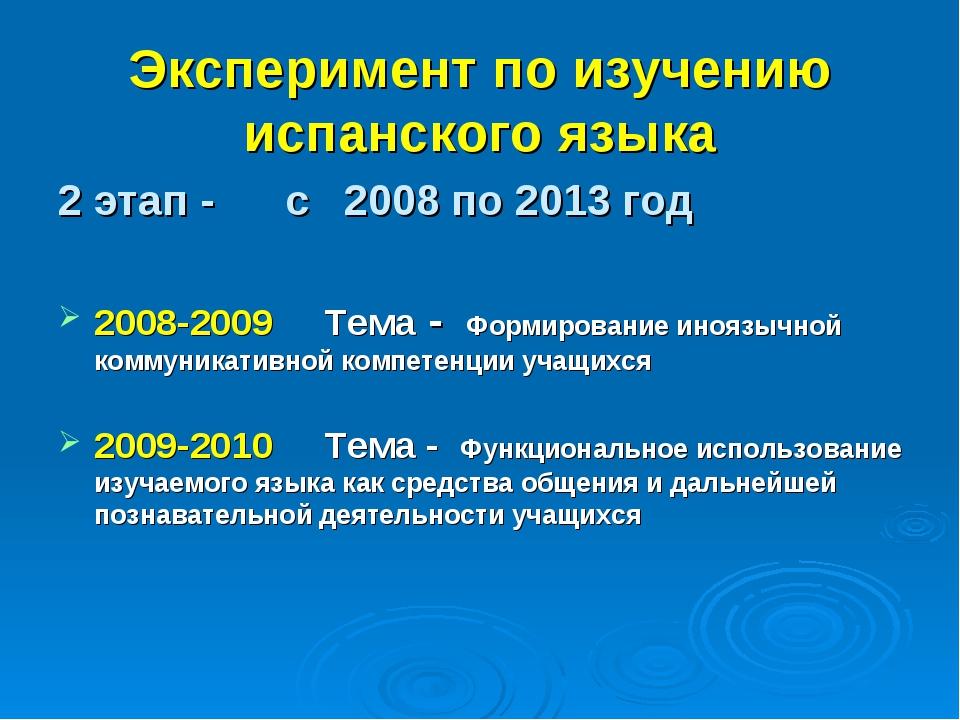Эксперимент по изучению испанского языка 2 этап - с 2008 по 2013 год 2008-200...