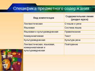 Специфика предметного содержания Вид компетенцииСодержательная линия (раздел