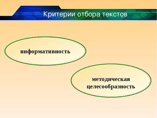 Критерии отбора текстов