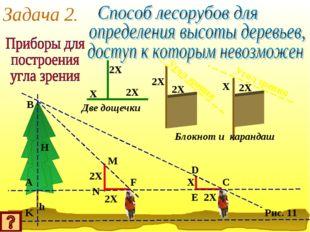 Задача 2. 2X 2X X Две дощечки 2X 2X 2X X Угол зрения Угол зрения Блокнот и ка