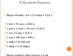 В Древнем Израиле: Меры объёма1 лог = 1/4 кава = 0,54 л 1 бат = 72 лога = 38,