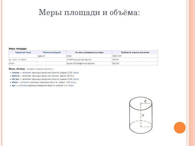 Меры площади и объёма: