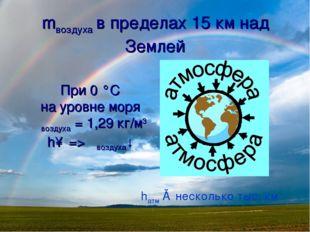 mвоздуха в пределах 15 км над Землей При 0 °С на уровне моря ρвоздуха = 1,29