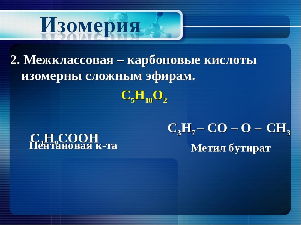 2. Межклассовая – карбоновые кислоты изомерны сложным эфирам. С5Н10О2 С4Н9СОО...