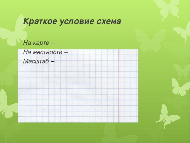 Краткое условие схема На карте – На местности – Масштаб –