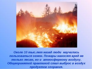 Около 10 тыс.лет назад люди научились пользоваться огнем. Пожары наносят вред