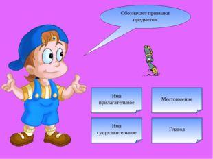 Глагол Обозначает признаки предметов Местоимение Имя прилагательное Имя сущес