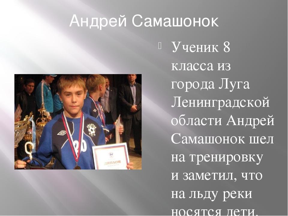 Андрей Самашонок Ученик 8 класса из города Луга Ленинградской области Андрей...