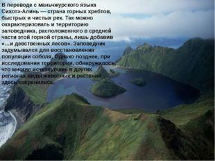 В переводе с маньчжурского языка Сихотэ-Алинь — страна горных хребтов, быстры