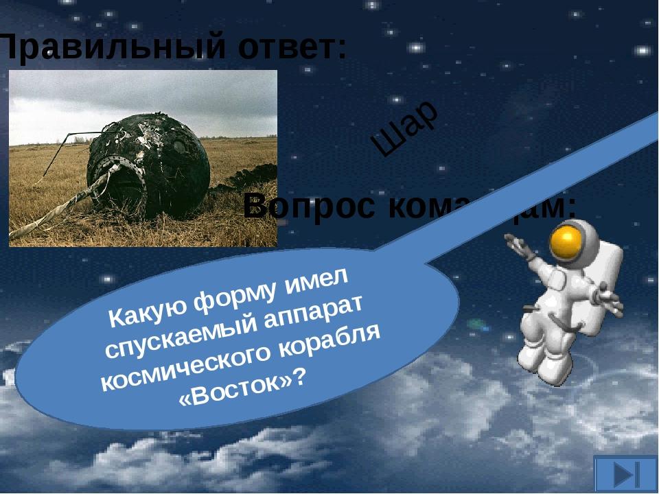 Вопрос командам: Какую форму имел спускаемый аппарат космического корабля «Во...