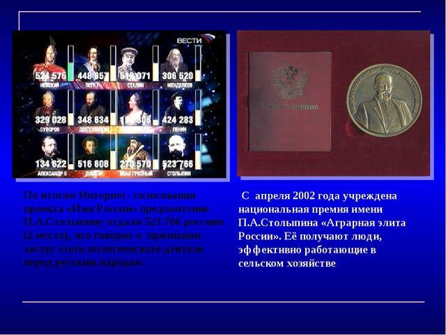 С апреля 2002 года учреждена национальная премия имени П.А.Столыпина «А...