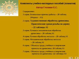 Комплекты учебно-наглядных пособий (плакатов) Автор Глозман Е.С. Содержание: