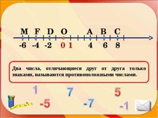Два числа, отличающиеся друг от друга только знаками, называются противополож