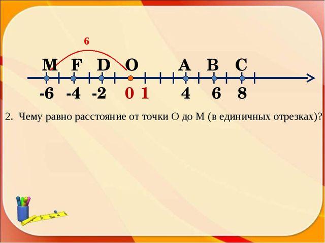 2. Чему равно расстояние от точки О до M (в единичных отрезках)? 6