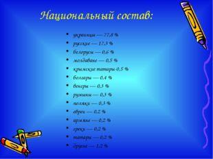 Национальный состав: украинцы — 77,8 % русские — 17,3 % белорусы — 0,6 % молд