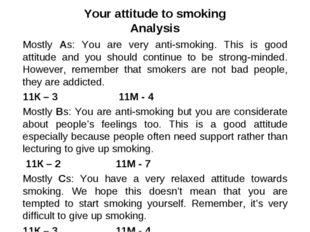 Your attitude to smoking Analysis Mostly As: You are very anti-smoking. This