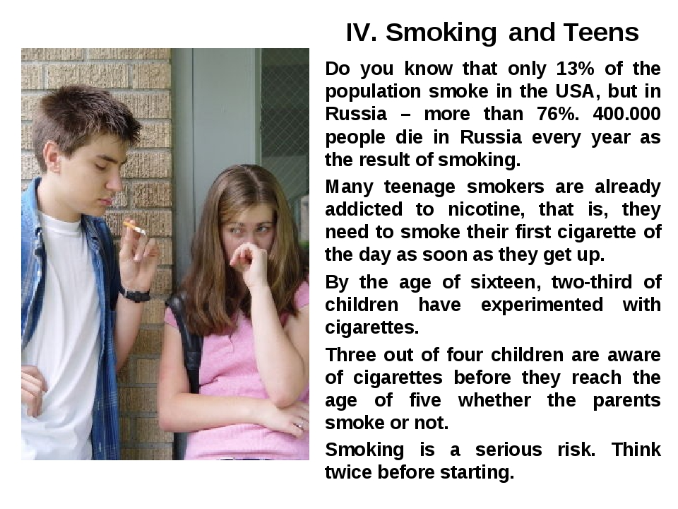 IV. Smoking and Teens Do you know that only 13% of the population smoke in t...