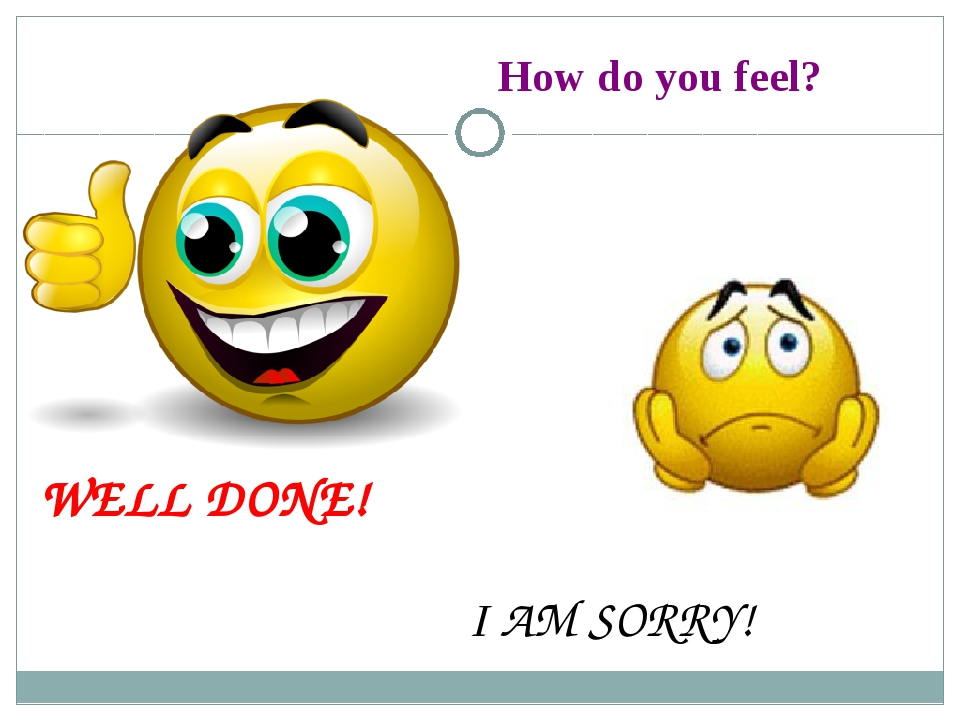 How do you feel? WELL DONE! I AM SORRY!