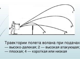Траектории полета волана при подачах: 1 — высоко-далекая; 2 — высокая атакующ