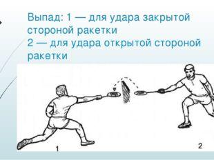 Выпад: 1 — для удара закрытой стороной ракетки 2 — для удара открытой стороно