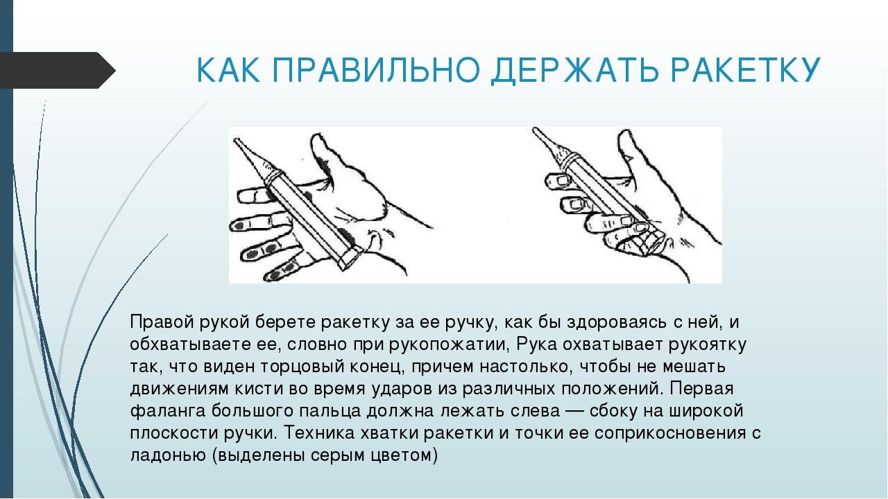 КАК ПРАВИЛЬНО ДЕРЖАТЬ РАКЕТКУ Правой рукой берете ракетку за ее ручку, как бы...