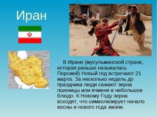 Иран В Иране (мусульманской стране, которая раньше называлась Персией) Новый