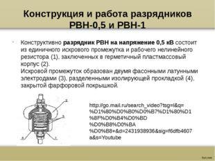 Конструкция и работа разрядников РВН-0,5 и РВН-1 Конструктивноразрядник РВН