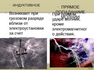 ИНДУКТИВНОЕ Возникают при грозовом разряде вблизи от электроустановки за счет
