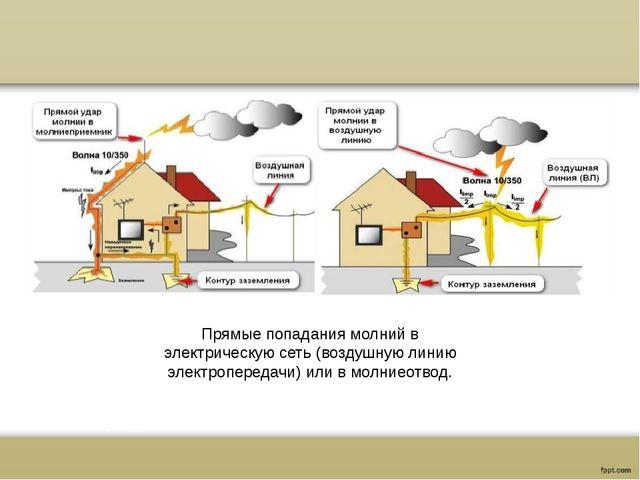 Прямые попадания молний в электрическую сеть (воздушную линию электропередач...