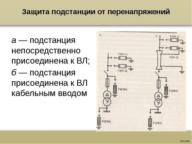 Защита подстанции от перенапряжений а — подстанция непосредственно присоедине...