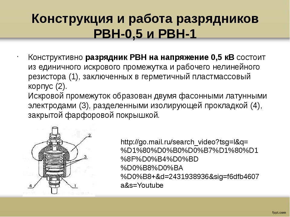 Конструкция и работа разрядников РВН-0,5 и РВН-1 Конструктивноразрядник РВН...